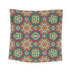 Jewel Tiles Kaleidoscope Square Tapestry (small) by WolfepawFractals