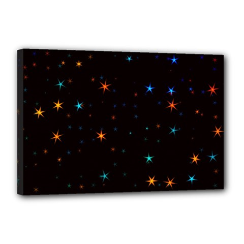 Awesome Allover Stars 02e Canvas 18  X 12  by MoreColorsinLife
