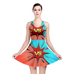 Comic Book Vs With Colorful Comic Speech Bubbles  Reversible Skater Dress by LimeGreenFlamingo