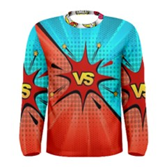 Comic Book Vs With Colorful Comic Speech Bubbles  Men s Long Sleeve Tee by LimeGreenFlamingo