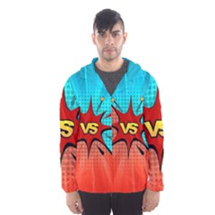 Comic Book Vs With Colorful Comic Speech Bubbles  Hooded Wind Breaker (men) by LimeGreenFlamingo