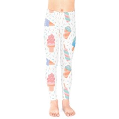 Hand Drawn Ice Creams Pattern In Pastel Colorswith Pink Watercolor Texture  Kids  Leggings