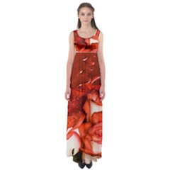Nice Rose With Water Empire Waist Maxi Dress