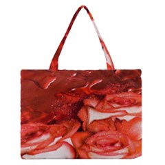 Nice Rose With Water Medium Zipper Tote Bag by BangZart