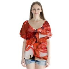Nice Rose With Water Flutter Sleeve Top