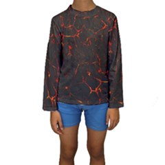 Volcanic Textures Kids  Long Sleeve Swimwear