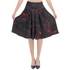 Volcanic Textures Flared Midi Skirt