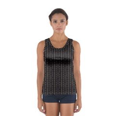 Dark Black Mesh Patterns Women s Sport Tank Top