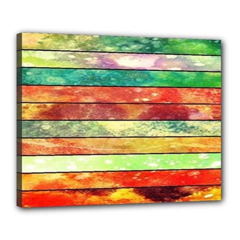 Stripes Color Oil Canvas 20  x 16  by BangZart