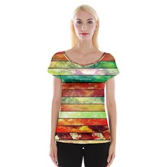 Stripes Color Oil Cap Sleeve Tops