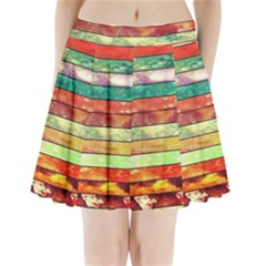 Stripes Color Oil Pleated Mini Skirt
