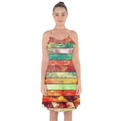 Stripes Color Oil Ruffle Detail Chiffon Dress
