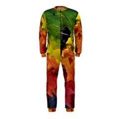 Green Yellow Red Maple Leaf Onepiece Jumpsuit (kids)