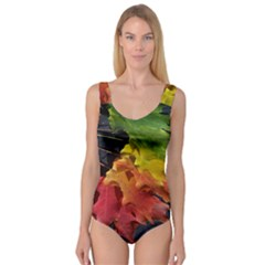 Green Yellow Red Maple Leaf Princess Tank Leotard