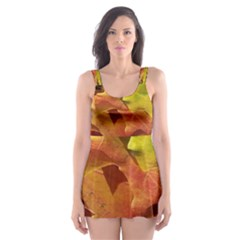 Green Yellow Red Maple Leaf Skater Dress Swimsuit