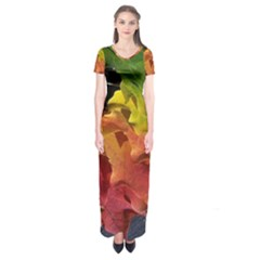 Green Yellow Red Maple Leaf Short Sleeve Maxi Dress
