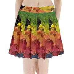 Green Yellow Red Maple Leaf Pleated Mini Skirt