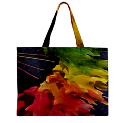 Green Yellow Red Maple Leaf Medium Tote Bag by BangZart