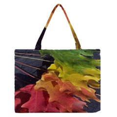 Green Yellow Red Maple Leaf Medium Zipper Tote Bag