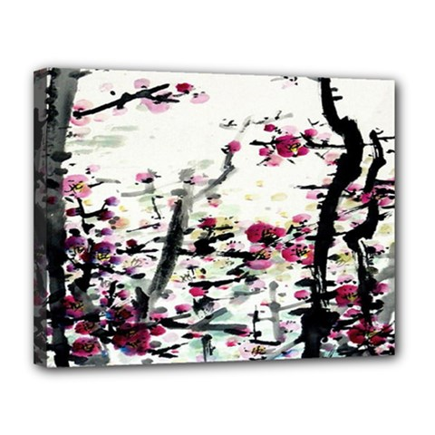 Pink Flower Ink Painting Art Canvas 14  X 11  by BangZart