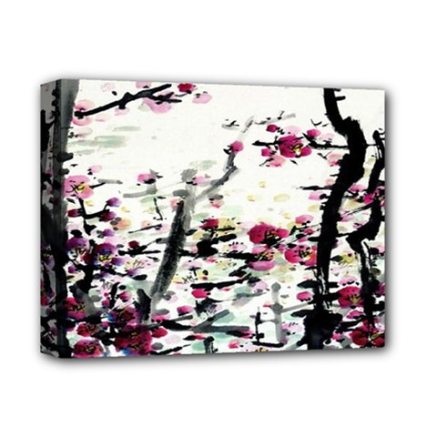Pink Flower Ink Painting Art Deluxe Canvas 14  X 11  by BangZart