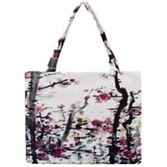 Pink Flower Ink Painting Art Mini Tote Bag by BangZart