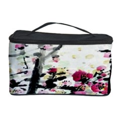 Pink Flower Ink Painting Art Cosmetic Storage Case