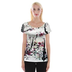 Pink Flower Ink Painting Art Cap Sleeve Tops