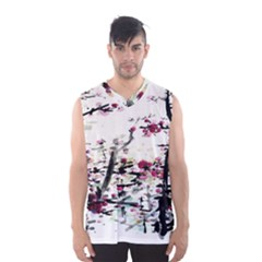 Pink Flower Ink Painting Art Men s Basketball Tank Top