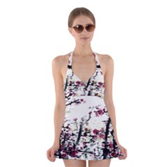 Pink Flower Ink Painting Art Halter Swimsuit Dress