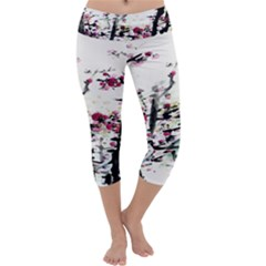 Pink Flower Ink Painting Art Capri Yoga Leggings