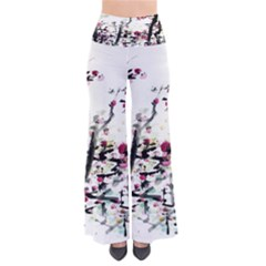 Pink Flower Ink Painting Art Pants