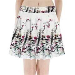 Pink Flower Ink Painting Art Pleated Mini Skirt
