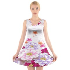 Sweet Flowers V Neck Sleeveless Skater Dress