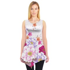 Sweet Flowers Sleeveless Tunic by BangZart