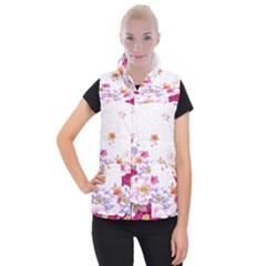 Sweet Flowers Women s Button Up Puffer Vest