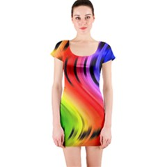 Colorful Vertical Lines Short Sleeve Bodycon Dress