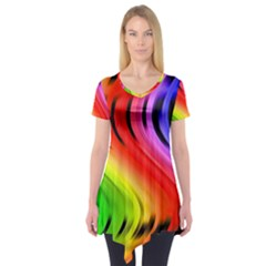 Colorful Vertical Lines Short Sleeve Tunic