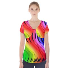 Colorful Vertical Lines Short Sleeve Front Detail Top