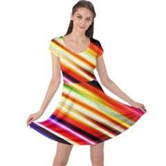 Funky Color Lines Cap Sleeve Dresses