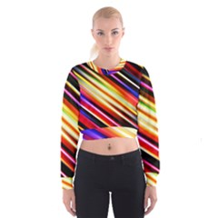 Funky Color Lines Cropped Sweatshirt
