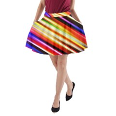 Funky Color Lines A Line Pocket Skirt by BangZart