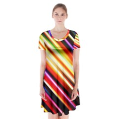Funky Color Lines Short Sleeve V Neck Flare Dress