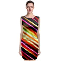 Funky Color Lines Classic Sleeveless Midi Dress