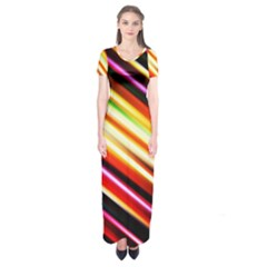 Funky Color Lines Short Sleeve Maxi Dress