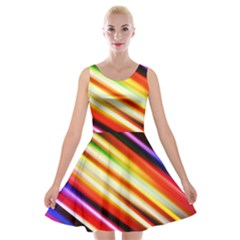 Funky Color Lines Velvet Skater Dress
