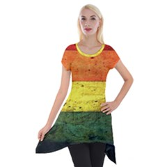 Five Wall Colour Short Sleeve Side Drop Tunic by BangZart