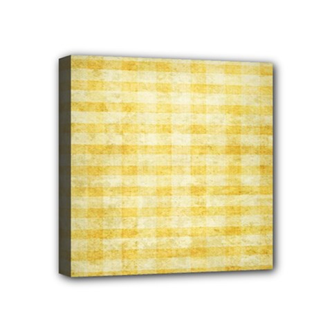 Spring Yellow Gingham Mini Canvas 4  X 4  by BangZart