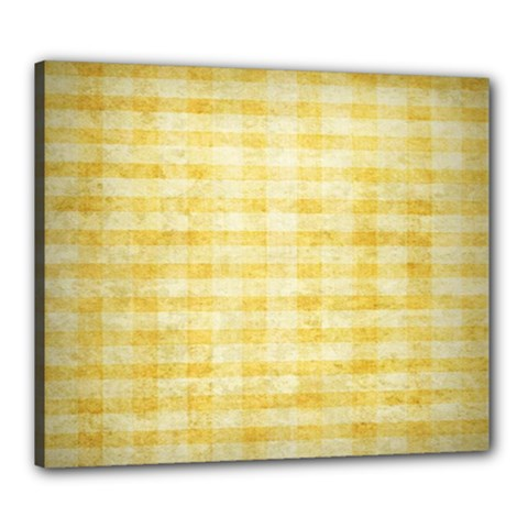 Spring Yellow Gingham Canvas 24  X 20  by BangZart