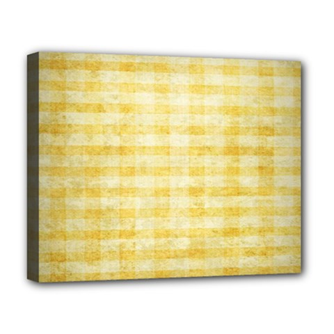 Spring Yellow Gingham Deluxe Canvas 20  X 16   by BangZart